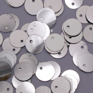 10mm Metallic Silver Flat Round Sequins